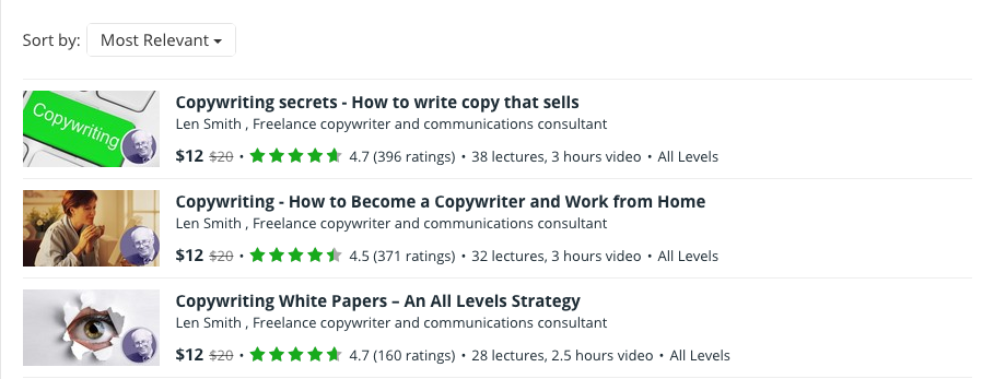 Udemy Courses by Len Smith, Freelance Copywriter
